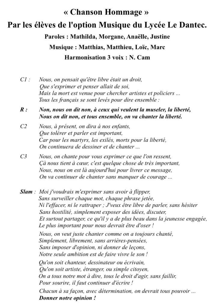 Chanson hommage-Elèves de l'option musique Lycée Le Dantec