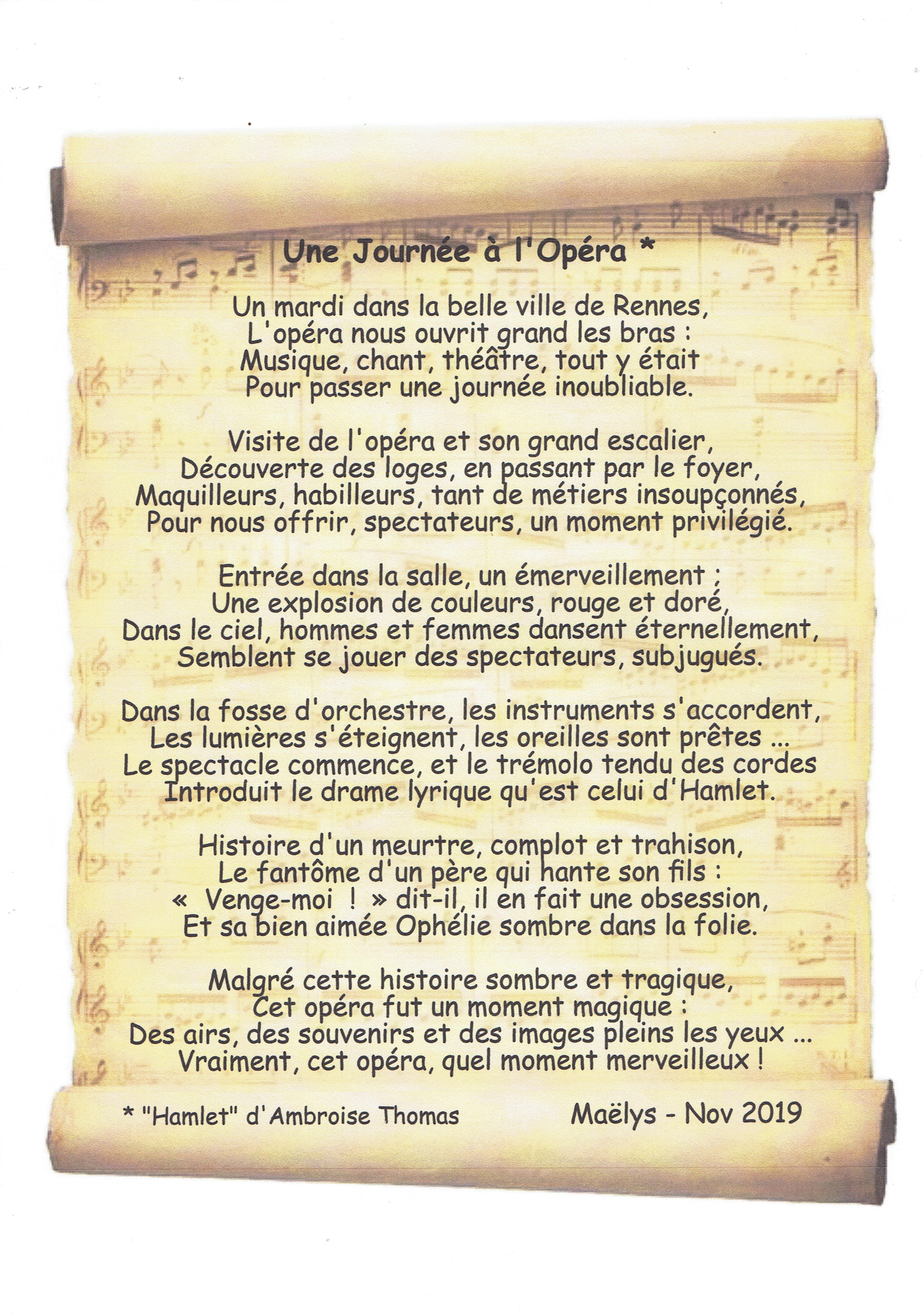 Maëlys-Poème Une journée à l'opéra